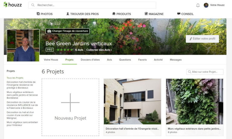 Le site internet Houzz de Bee Green Jardins verticaux